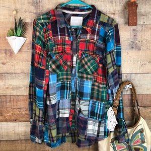 Free People RARE boho patchwork flannel shirt, L